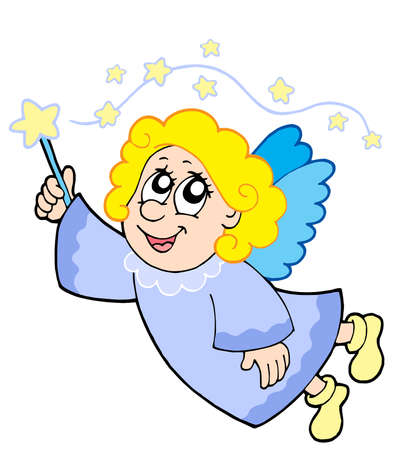 Cute angel with wand - vector illustration. Stock Vector - 3763160
