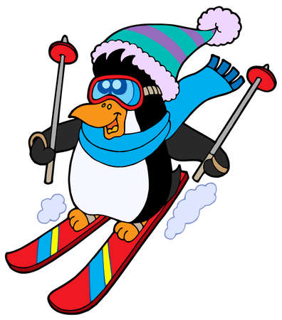 penguins: Cute skiing penguin - vector illustration.