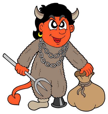 dickens: Small devil with sack - vector illustration. Illustration