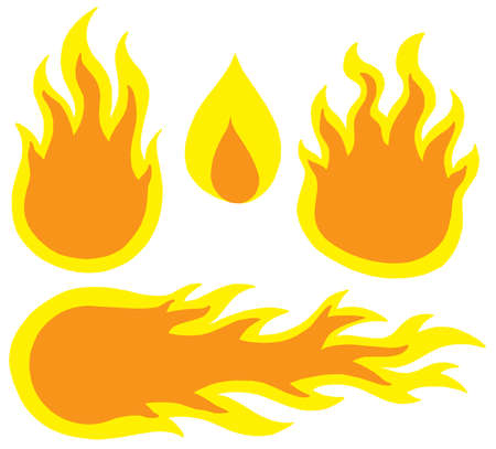 Various flames collection - vector illustration.