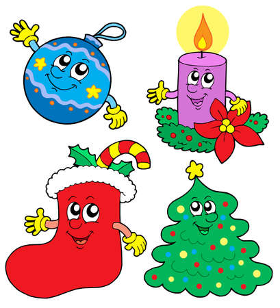 cute christmas: Cute Christmas illustrations collection - vector illustration. Illustration