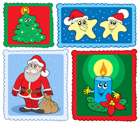 Christmas post stamps collection 2 - vector illustration. Stock Vector - 3798916