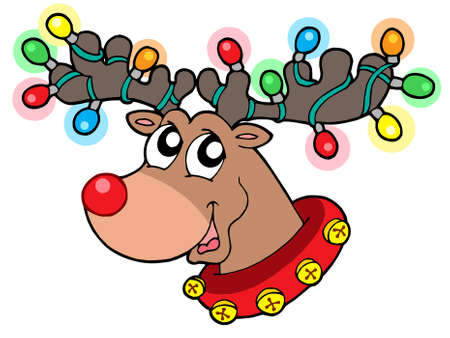 Cute reindeer in Christmas lights - vector illustration.