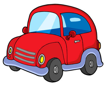 beetles: Cute red car - vector illustration.