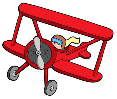 Flying red biplane - vector illustration.