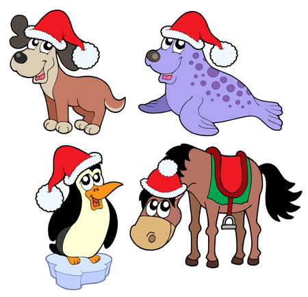 Christmas animals collection - vector illustration. Vector