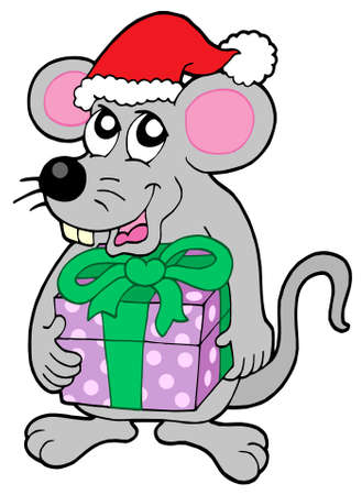 hoary: Christmas mouse with gift - vector illustration.