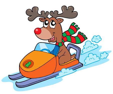 renos de navidad: Renos de Navidad montar scooter - ilustraci�n vectorial.