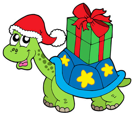 Christmas turtle with gift - vector illustration. Vector