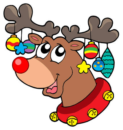 jingle bells: Reindeer with Christmas decorations - vector illustration.