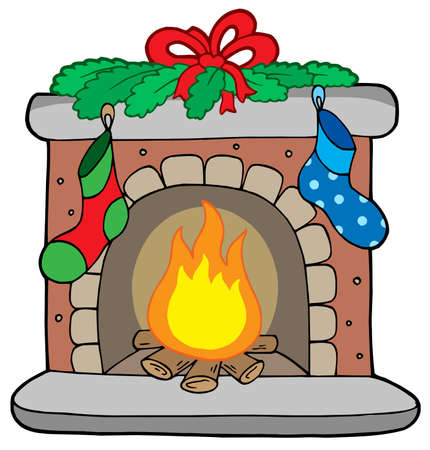 cozy: Christmas fireplace with stockings - vector illustration.
