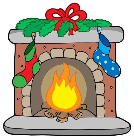 Kerst open haard met kousen - vector illustration. Vector Illustratie
