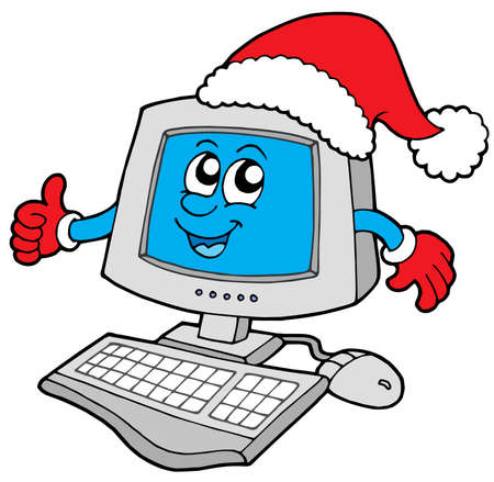 computer vector: Christmas smiling computer - vector illustration. Illustration