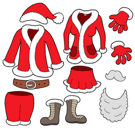 beard woman: Santa Clauses clothes collection - vector illustration.