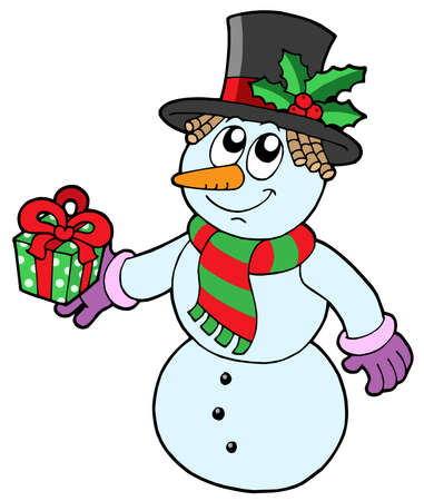 Cute snowman with gift - vector illustration. Vector