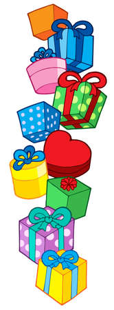 heap: Pile of Christmas gifts - vector illustration.