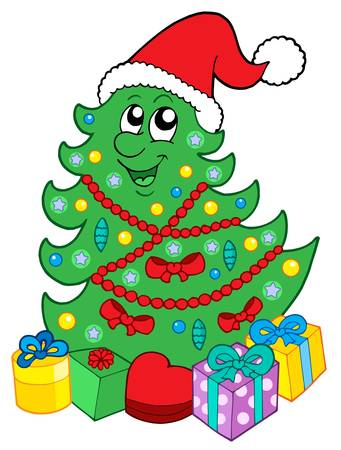 compliment: Santa Christmas tree with gifts - vector illustration,