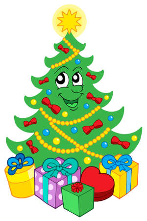 Smiling Christmas tree with gifts - vector illustration. Vector