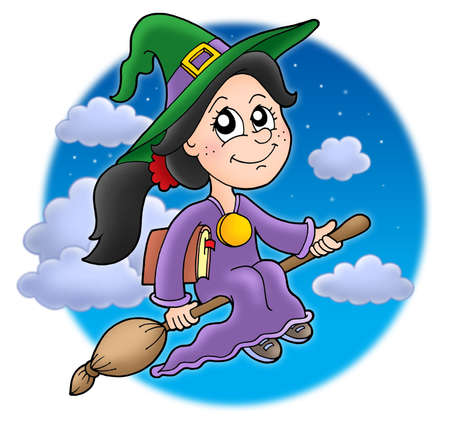 flying hat: Cute witch on broom - color illustration