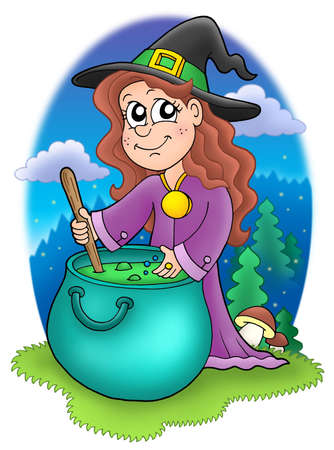 wizard hat: Cute witch with kettle - color illustration Stock Photo