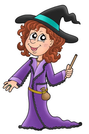 eye sockets: Cute witch with wand - color illustration
