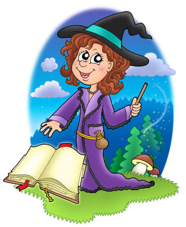 Cute witch with wand and book - color illustration illustration