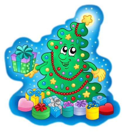Happy Christmas tree on blue sky - color illustration. illustration