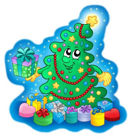 Happy Christmas tree on blue sky - color illustration. Stock Illustration - 3877563