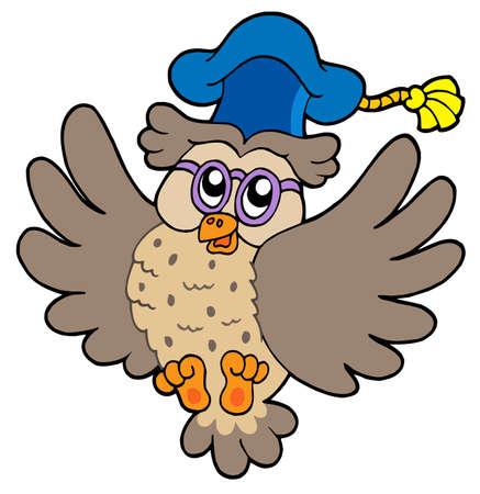 Flying owl teacher - vector illustration. Vector