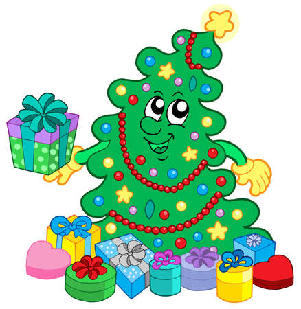 christmas tree illustration: Happy Christmas tree with gifts - vector illustration.