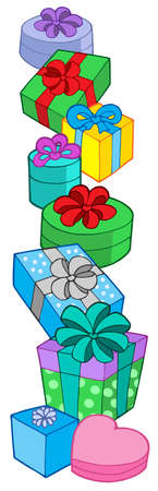 compliment: Pile of various color gifts - vector illustration.