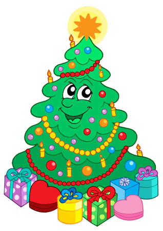 cute christmas: Smiling cute Christmas tree with gift - vector illustration.