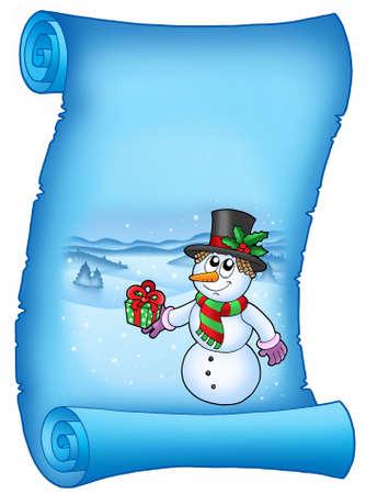 Blue parchment with Christmas snowman - color illustration. illustration