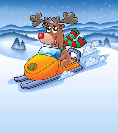 Christmas reindeer in snowy landscape - color illustration. Stock Illustration - 3877594