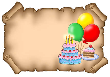happy feast: Parchment party invitation with cakes - color illustration.