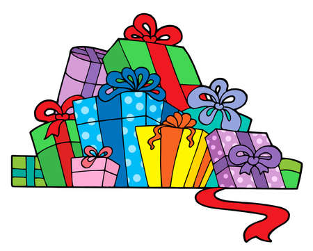 Pile of various gifts - vector illustration. Vector