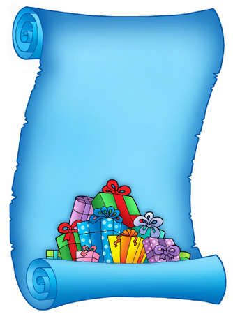 illust: Blue parchment with pile of gifts - color illust.
