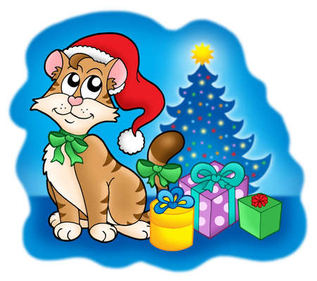 illust: Cat with Christmas tree and gifts - color illust. Stock Photo