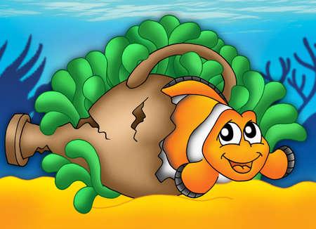 Clownfish in green anemone - color illustration. illustration