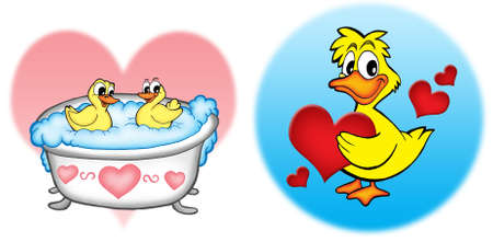 Ducks with hearts - color illustration. Stock Illustration - 3899657