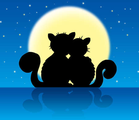 sky stars: Two cats in moonlight - color illustration.