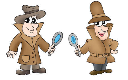 handglass: Two detectives with glasses - color illustration. Stock Photo