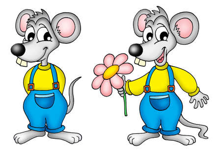 animal teeth: Two mouses with flower - color illustration.