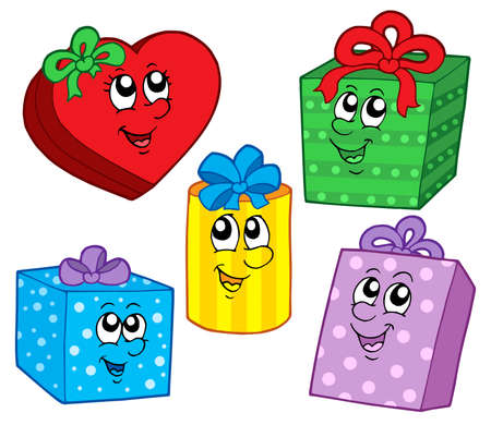 cute christmas: Cute Christmas gifts collection - vector illustration. Illustration