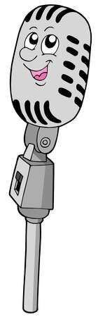 Cute retro microphone - vector illustration. Vector