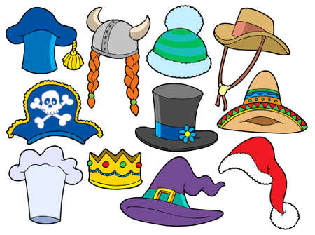 Various hats collection - vector illustration. Vector