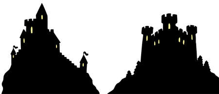 castillo medieval: Castillos siluetas sobre fondo blanco - ilustraci�n vectorial. Vectores