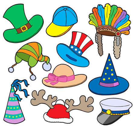 Various hats collection 2 - vector illustration.