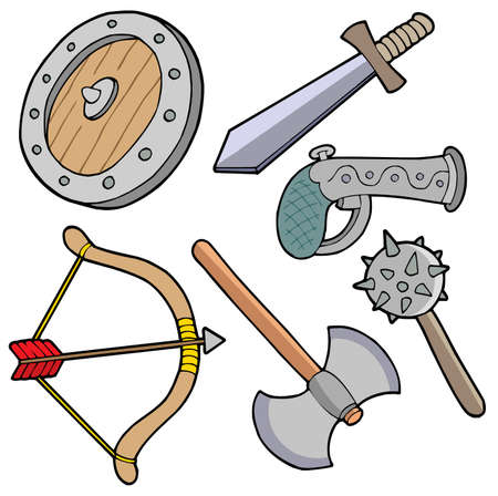 defense equipment: Recolecci�n de armas - ilustraci�n vectorial.