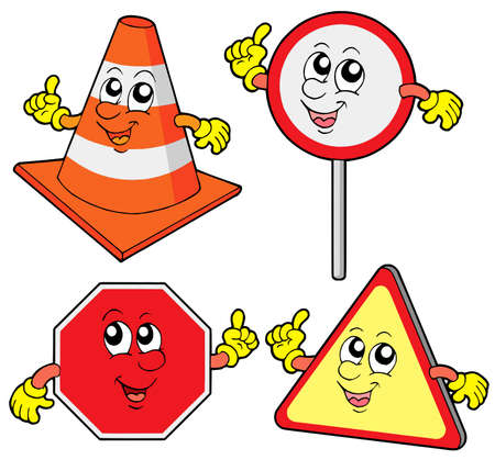 Cute road signs collection - vector illustration. Vector
